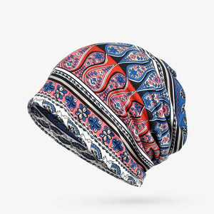 6f748ef014f Women Cotton Print Beanie Cap Casual Outdoor Scarf And Hat Double Use