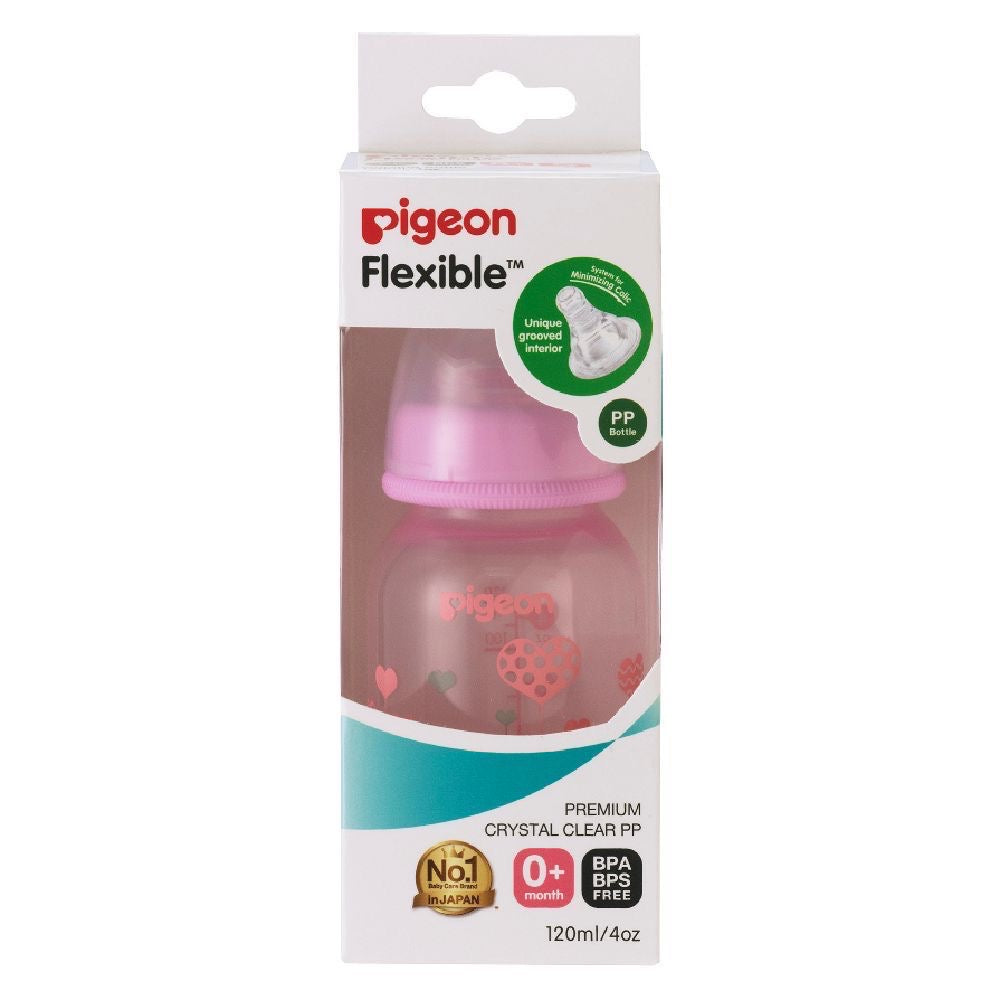 Flexible Slim Neck Nursing Bottle RPP 120ml Pink