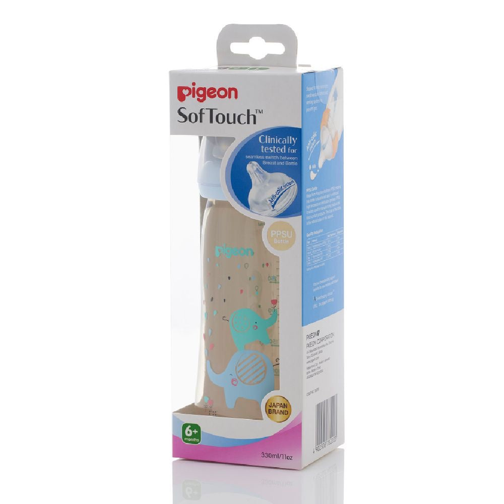 SofTouch™ Wide Neck PPSU Nursing Bottle Blue Elephant 330ml