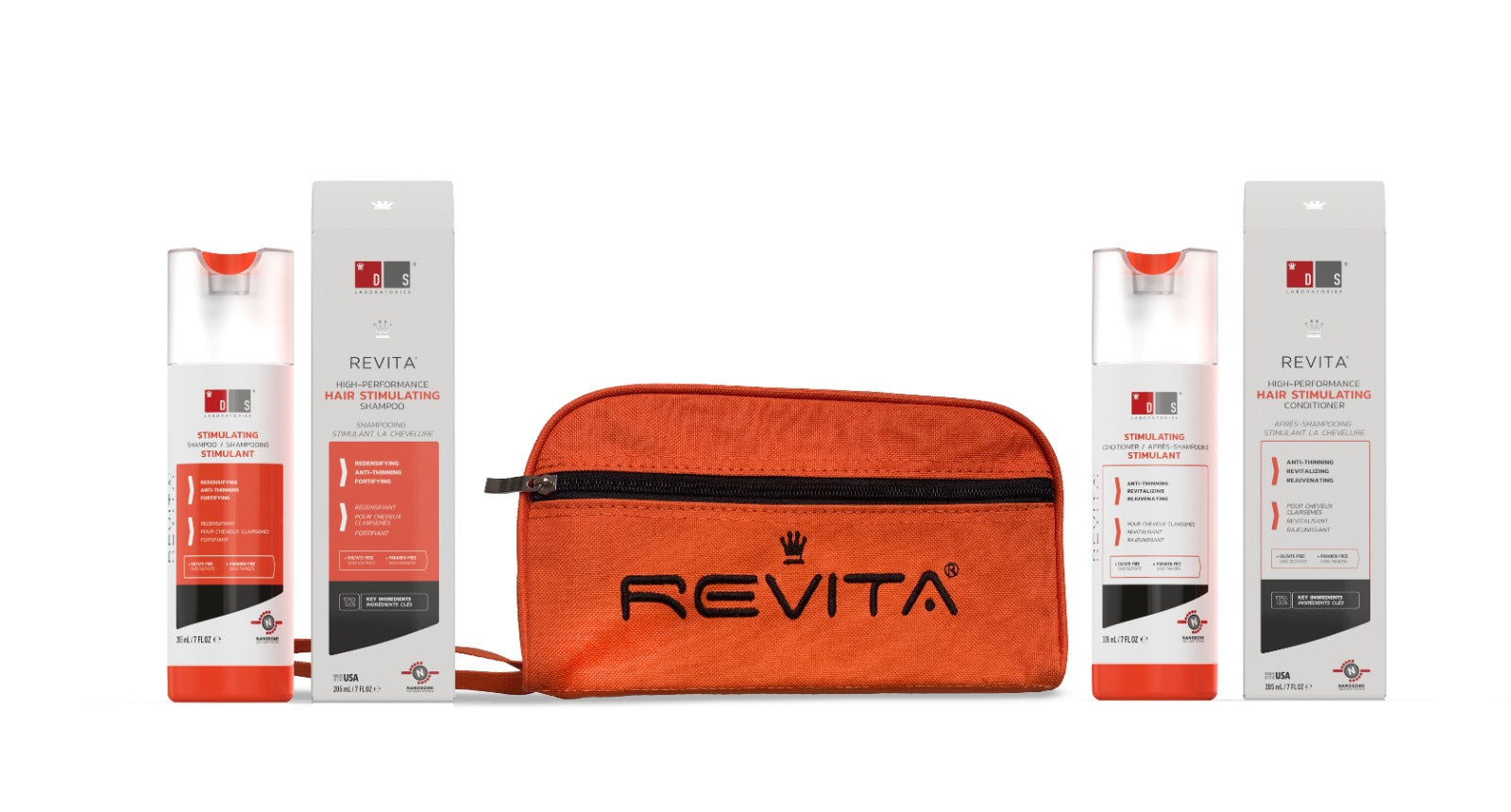 Revita Kit w/ Free Toiletry Bag| Hair Growth Stimulating Shampoo & Conditioner w/ Free Toiletry Bag