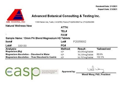 Magnesium Test Results For Natural Wellness Now Magnesium H2 Tablets