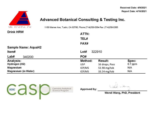 Test Results For Aqua H2 Tablets