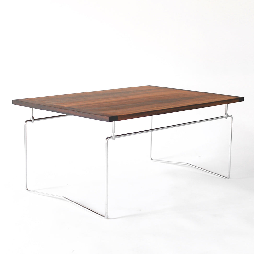 RARE Dokka Møbler Vintage Rosewood Coffee Table with Metal Base