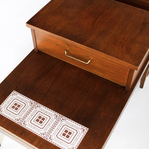 Pair of Mid Century Modern Walnut End Tables Side Tables with Inlay and Drawer