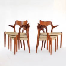 Load image into Gallery viewer, Set of 10 Niels Møller Dining Chairs Model 71 and 55 - Teak and Paper Cord