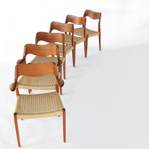 Set of 10 Niels Møller Dining Chairs Model 71 and 55 - Teak and Paper Cord