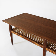 Load image into Gallery viewer, Vintage Mid Century Swedish Modern Coffee Table Walnut and Cane