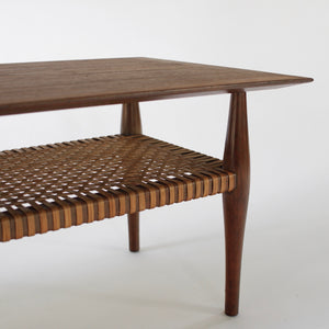 Vintage Mid Century Swedish Modern Coffee Table Walnut and Cane