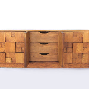 Lane Brutalist Staccato Low 9 Drawer Dresser in Oak - Vintage Mid Century Modern