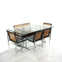 Load image into Gallery viewer, Rare Mid-Century Dining Set Walnut, Cane, Chrome and Glass - 6 Chairs