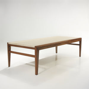 Mid-Century Walnut Travertine Coffee Table & End Tables