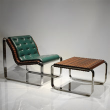 Load image into Gallery viewer, Exquisite Walnut Wood and Steel Cantilever Lounge Chair and Ottoman