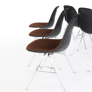 Set of 6 Eames for Herman Miller Upholstered Shell Chairs