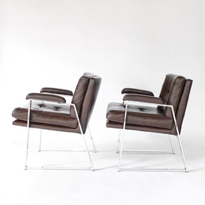 Mid Century Modern Armchairs Set of two (2) Style of Milo Baughman Metal Base