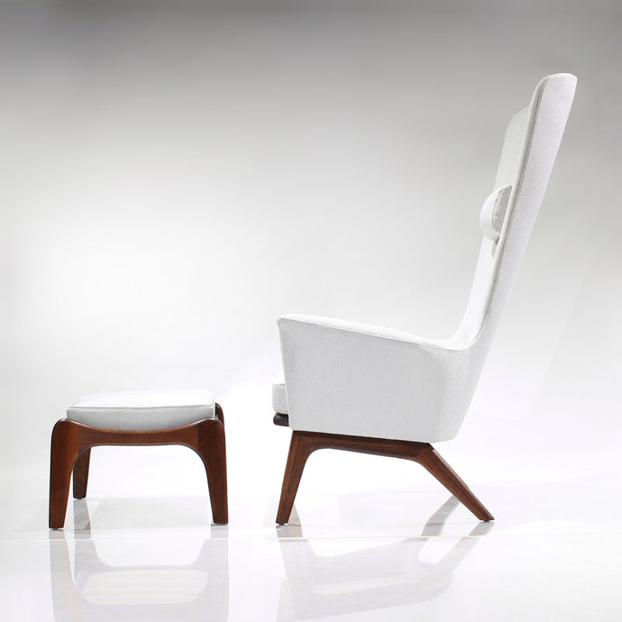Sensational Adrian Pearsall Sculptural High Back Lounge Chair and Ottoman