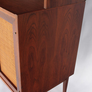 Jack Cartwright for Founders Walnut and Cane Credenza with Rare Hutch