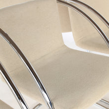 Load image into Gallery viewer, RARE Set of 6 Chrome Cantilever Dining Chairs with Beige Fabric