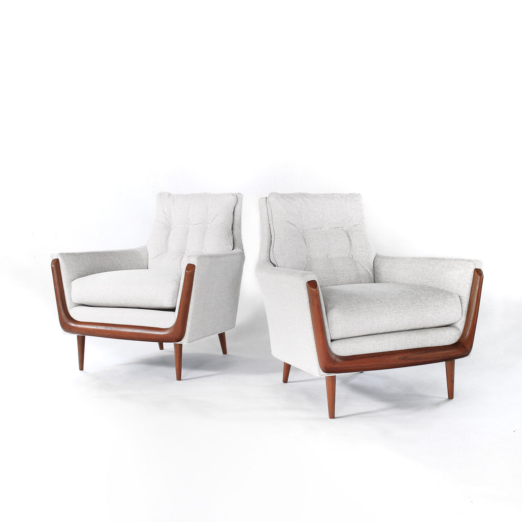 Mid Century Gondola Style Lounge Chairs by Deville in style of Adrian Pearsall