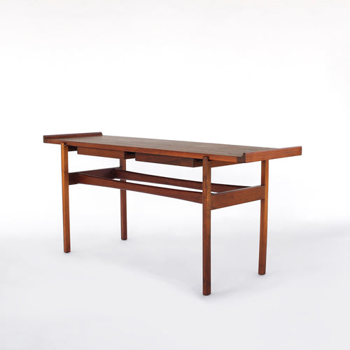 Jens Risom Walnut Console Table with 2 Floating Drawers