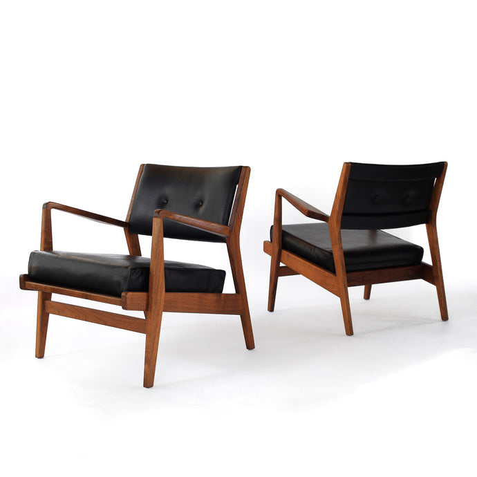 Jens Risom Walnut Lounge Chairs - A Pair