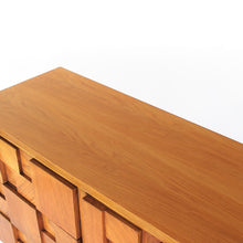 Load image into Gallery viewer, Lane Brutalist Staccato Low 9 Drawer Dresser in Oak - Vintage Mid Century Modern