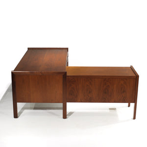 Exceptional Mid-Century Walnut L-Shape Desk with Return