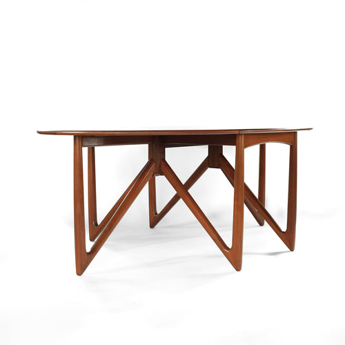 Exceptional Niels Koefoed Danish Teak Elliptical Gate Leg Dining Table