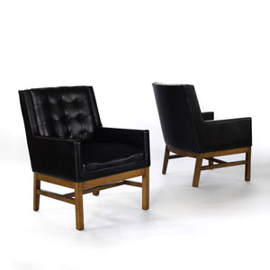 Mid Century Modern Black Club Chairs by Drexel