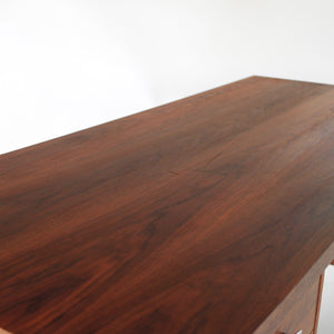 RARE Mid Century Modern Walnut and Cane Desk in Style of Florence Knoll