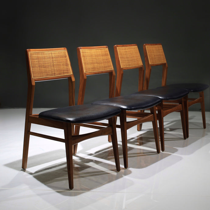 Walnut and Cane Dining Chairs - Set of 4 by Foster McDavid