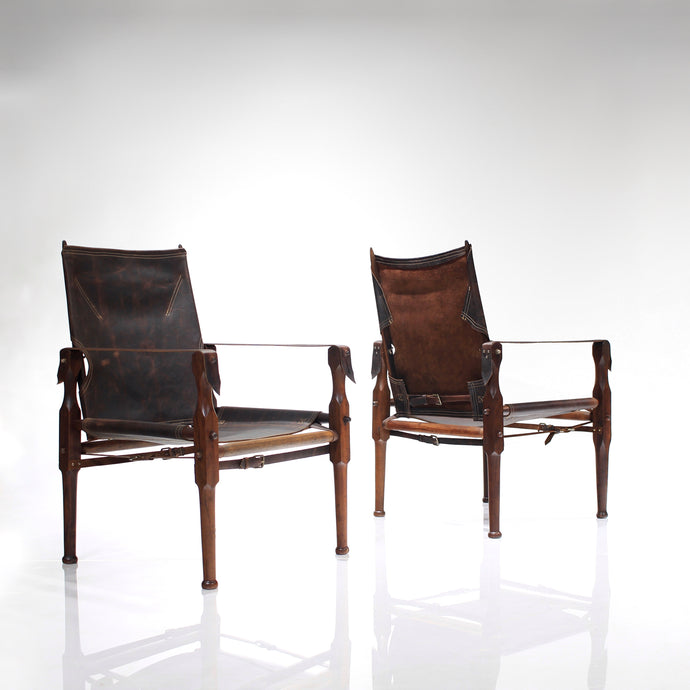 Mid Century Early South African Safari Chairs in Rosewood and Leather - A Pair