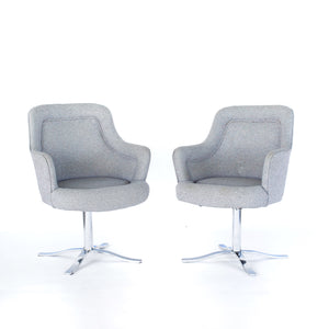 Mid Century Modern Easy Chairs in style of Nicos Zographos with Petal Chrome Base