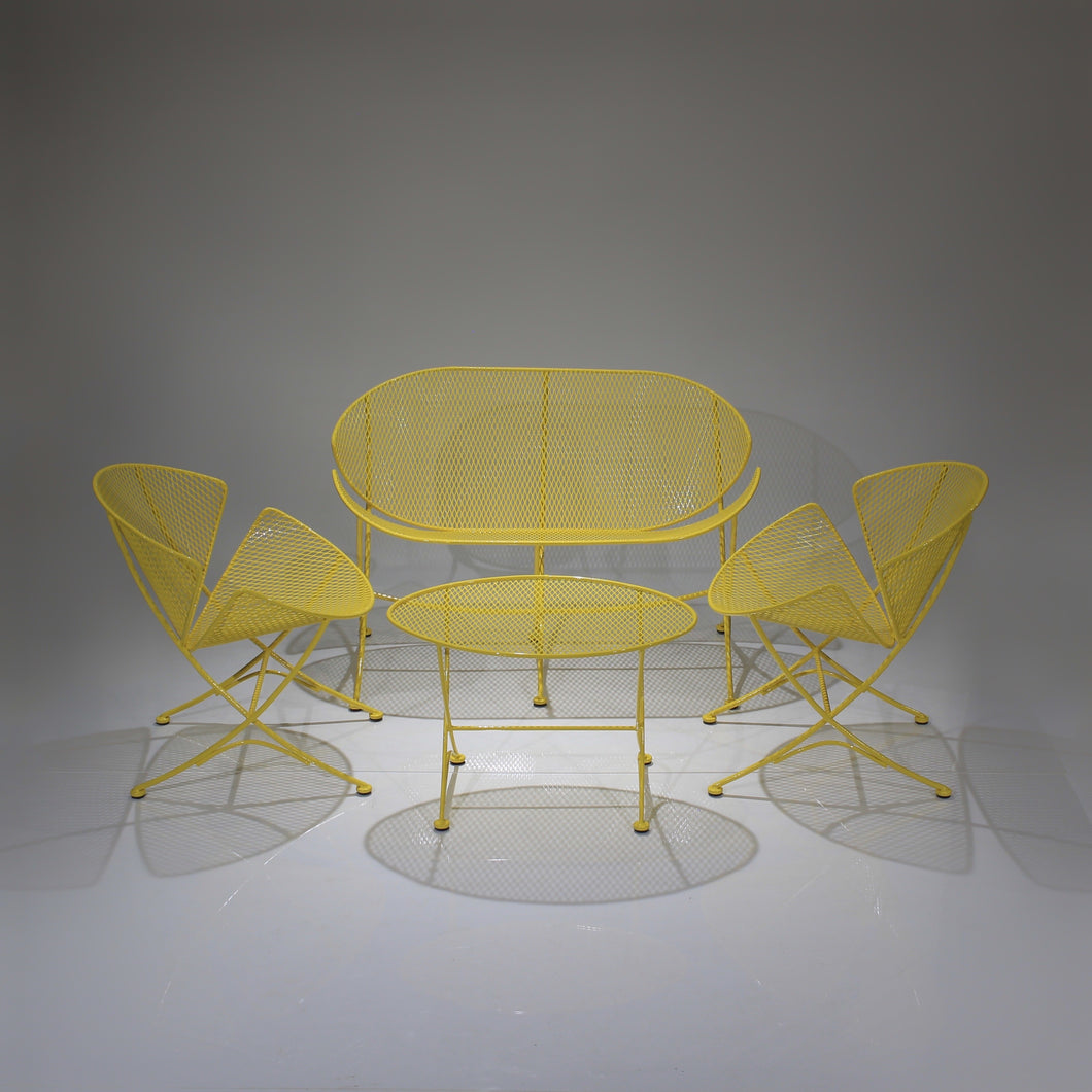 Sensational Maurizio Tempestini for Salterini Set - Loveseat, 2 Chairs and Table