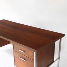 Load image into Gallery viewer, RARE Mid Century Modern Walnut and Cane Desk in Style of Florence Knoll