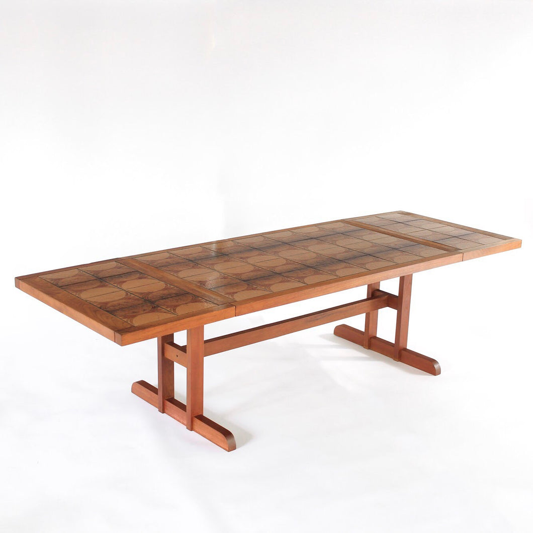 Danish Modern Dining Table Gangsø Møbler with Tile Inlay - Long 103