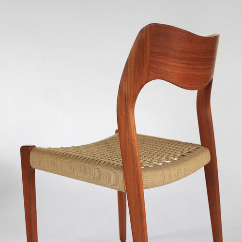Set of 8 Niels Møller Dining Side Chairs Model 71 - Teak and Paper Cord