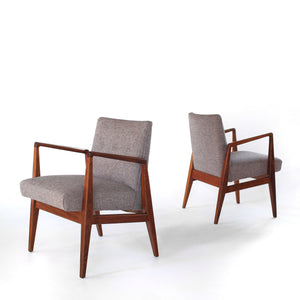 Mid Century Jens Risom Walnut Armchairs Pair of Stunning Lounge Chairs
