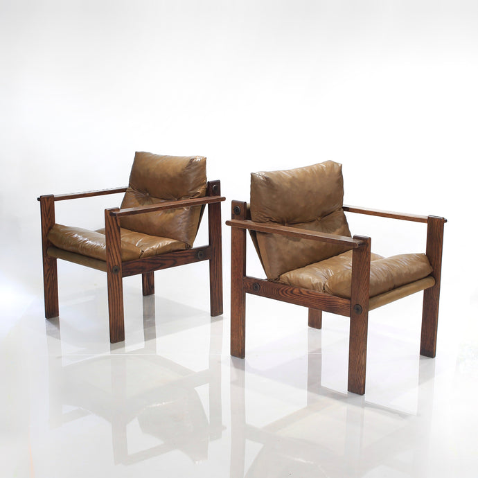 Mid-Century Ash Sling Lounge Chairs