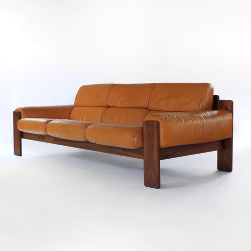 Rosewood and Leather Sofa by Uu-Vee Kaluste Oy of Finland
