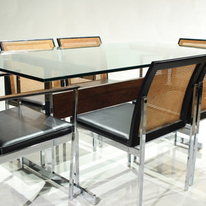 Rare Mid-Century Dining Set Walnut, Cane, Chrome and Glass - 6 Chairs