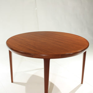 Mid Century Danish Teak Elliptical Extension Table with Two Leaves by VV Møbler