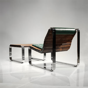Exquisite Walnut Wood and Steel Cantilever Lounge Chair and Ottoman