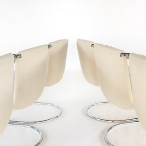 RARE Set of 6 Chrome Cantilever Dining Chairs with Beige Fabric