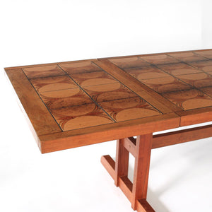 Danish Modern Dining Table Gangsø Møbler with Tile Inlay - Long 103""