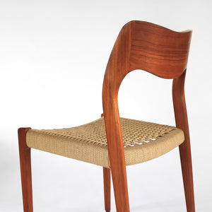 Set of 4 Møller Model 71 Side Chairs in Teak with Paper Cord