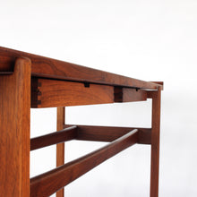 Load image into Gallery viewer, Jens Risom Walnut Console Table with 2 Floating Drawers