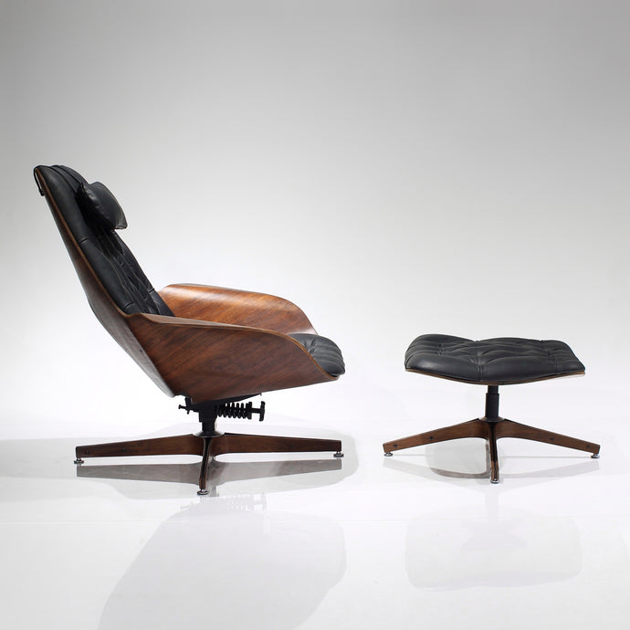 George Mulhauser for Plycraft Mr Chair and Ottoman in Leather