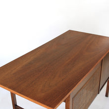 Mid Century Modern Walnut and Cane Desk with Chair
