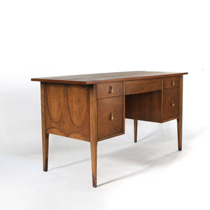 Broyhill Brasilia 5 Drawer Desk Walnut with Cane