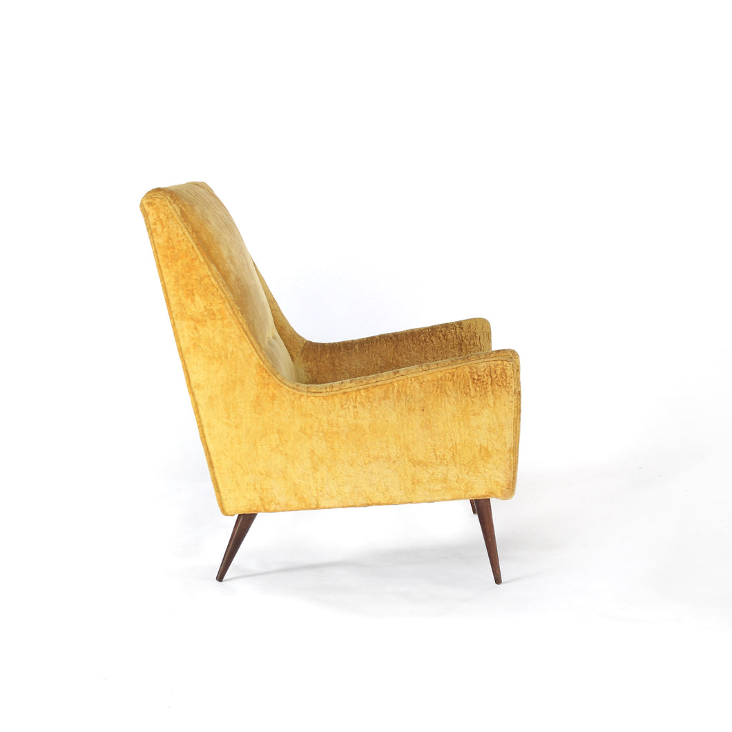 Paul McCobb style High Back Lounge Chair in Yellow / Gold